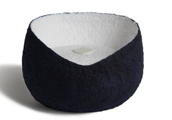 Picture of a white and blue ovoid shaped biodegradable cremation urn for pets on sale at Muses Design Urns. Front view.