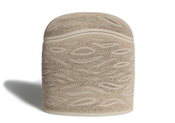Picture of a beige ceramics (faience) monolith shaped cremation urn on sale at Muses Design Urns. Front view.