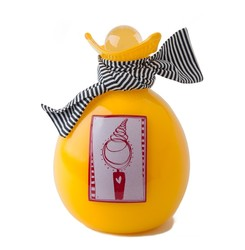 Picture of a bright yellow blown glass handkerchief wrapped ball cremation urn for children on sale at Muses Design Urns. Front view.