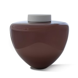Picture of a mahogany blown glass cremation urn for adult on sale at Muses Design Urns. Front view. Glossy finish.