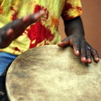 Playing Djembe Drums