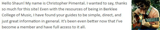 Testimonial from Christopher Pimental Email