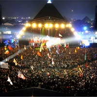 Performing at the Glastonbury music festival