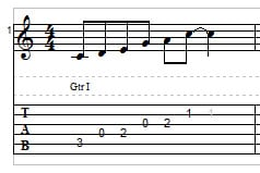 C major pentatonic scale on guitar