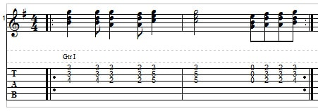 Triad riff in the key of G