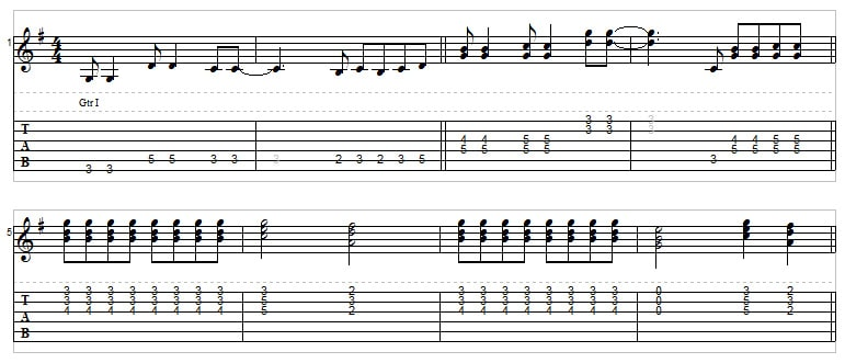 Riff ideas in the key of G - single notes, double stops, triads