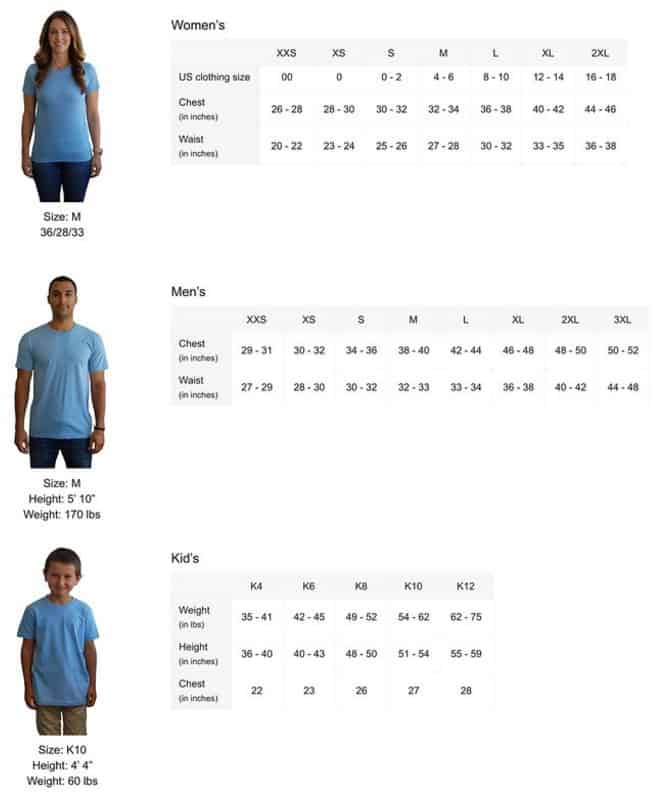 Our Cool Guitar T Shirts Size Guide Men Women and Youths