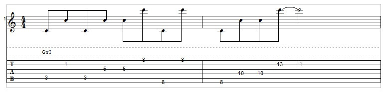 C octaves exercise for guitar