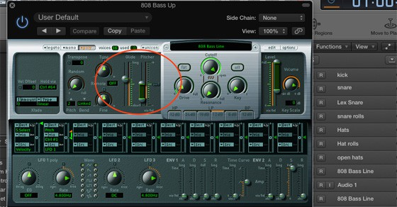 How to change the 808 bass line down
