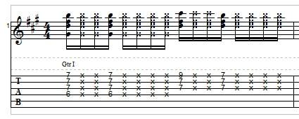 Funk guitar, example 3
