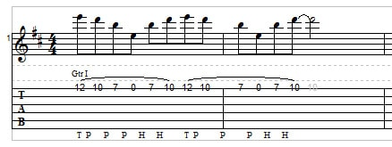 Two-hand tapping for guitar example 4