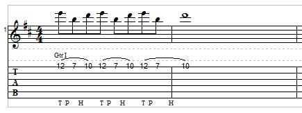Two-hand tapping for guitar example 1