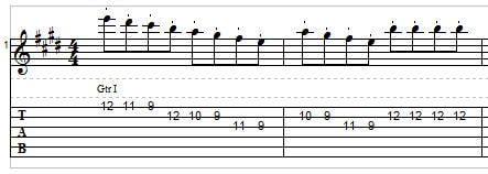 Staccato lead guitar example