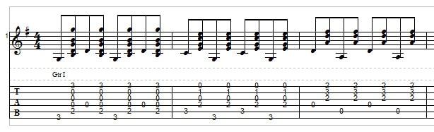Bluegrass rhythm guitar exercise 4