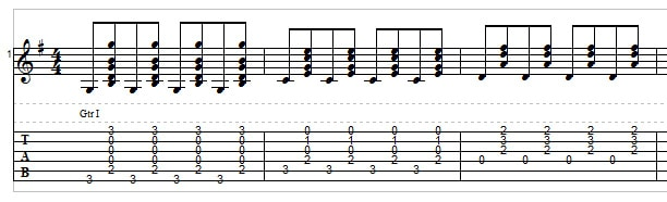 Bluegrass rhythm guitar exercise 2