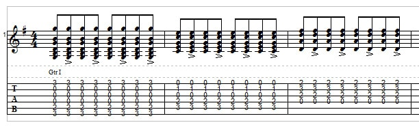 Bluegrass rhythm guitar exercise 1