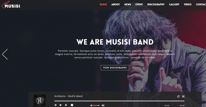 WordPress Themes For Musicians, Bands – Musisi