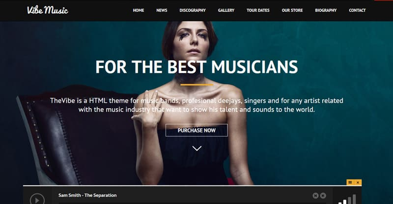 VibeMusic – Musicians, Deejays, Singers, Bands WordPress Theme