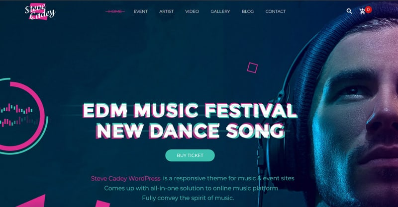 Steve Cadey – WordPress Music Theme For Musicians, DJs, Bands And Solo Artists