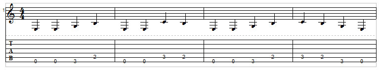 Example 5: Single note bass line on guitar