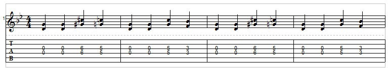 Example 8: Double stop riffs for guitar