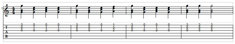 Example 10: Playing triads on guitar
