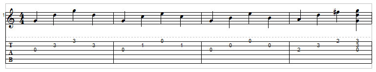 Example 11: Picked arpeggios guitar tab