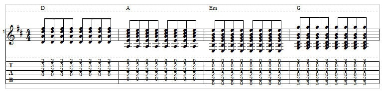 Example 13: Eighth note strumming pattern