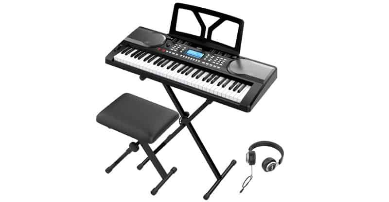 RIF6 61 Key Electric Keyboard With Over Ear Headphones, Music Stand, Digital LCD Display, Teaching Modes And Adjustable Stool