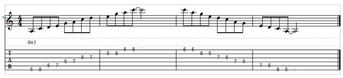 A minor pentatonic scale played forewards and backwards