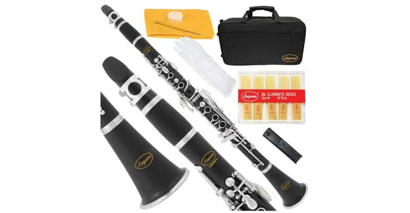 Lazarro 150-BK-L B-Flat Clarinet Black, Silver Keys With Case, 11 Reeds, Care Kit And Many Extras