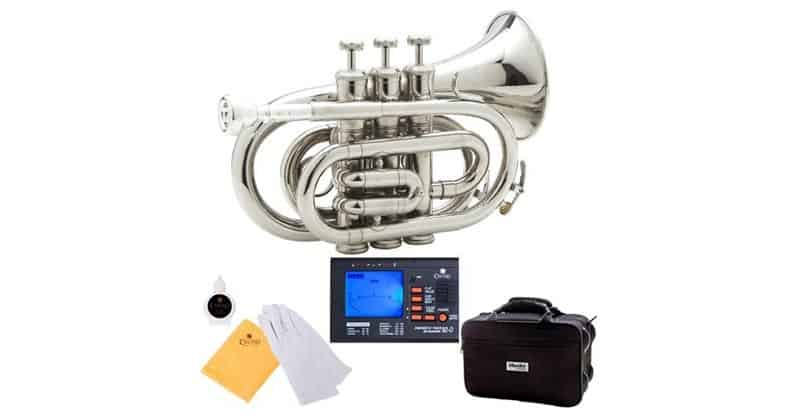 Mendini MPT-N Nickel Plated Bb Pocket Trumpet