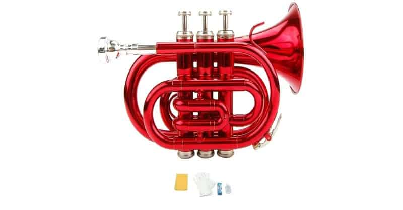 Merano Bb Red Pocket Trumpet With Case, Mouth Piece, Valve Oil, Gloves, Soft Cleaning Cloth