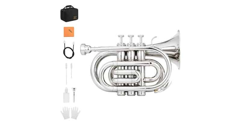 Eastar ETR-330N Bb Nickel Plated Pocket Trumpet With Hard Case, Gloves, 7C Mouthpiece, Valve Oil, Trumpet Cleaning Cloth