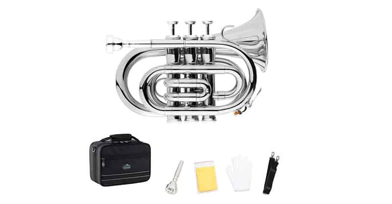 EastRock Brass Nickel Plated Bb Pocket Trumpet For Beginners, Students Or Intermediate Players