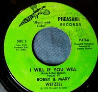 Bobby & Mary Wetzell - If I Will You Will/butch, Jimmy & Joe - 7""