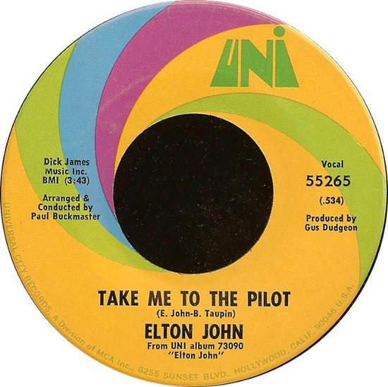 "Elton John - Take Me To The Pilot/your Song - 7"""