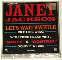 "Janet Jackson - Let's Wait Awhile - Uk 2x7"" - Picture Disc - Clear Vinyl - In Wallet - 7"""