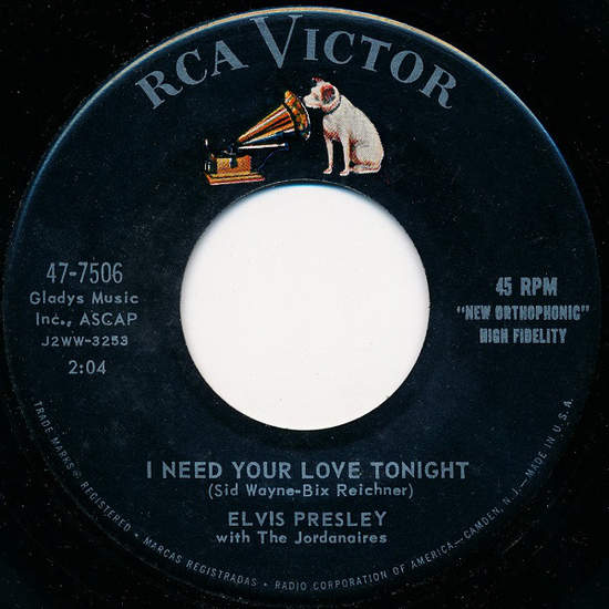 Elvis Presley With The Jordanaires - I Need Your Love Tonight / A Fool Such As I - 45