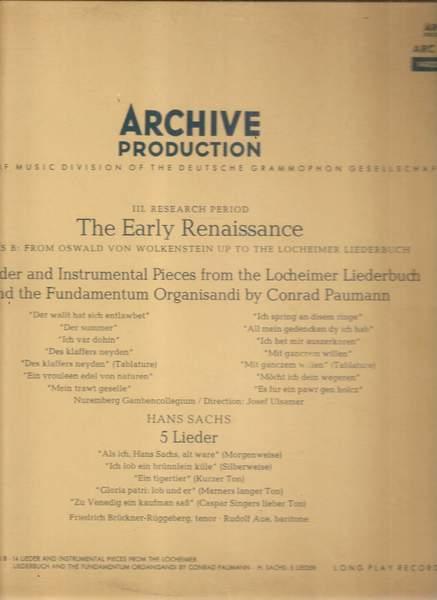 Conrad Paumann ‧ Hans Sachs / Josef Ulsamer ‧ - 14 Lieder Und Spielstücke Aus Dem Lochamer Liederbuch Und Dem Fundamentum Organisandi Des Conrad Pa - LP