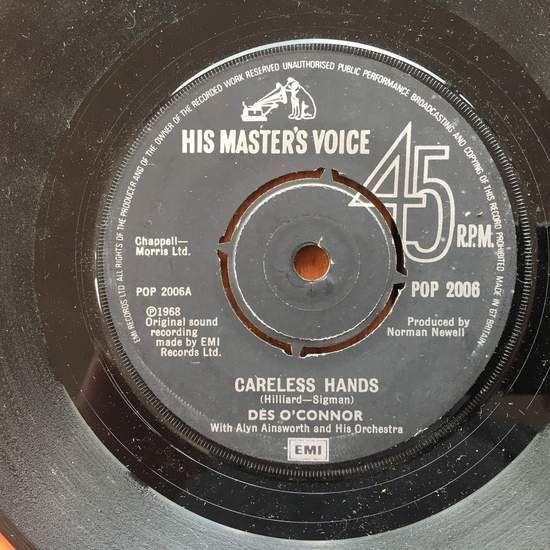 Des O'connor - Careless Hands - 45T SP 2 titres