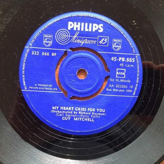 Guy Mitchell - My Heart Cries For You / Till We're Engaged - 45T SP 2 titres