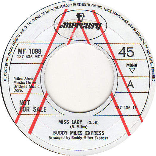 """BUDDY MILES EXPRESS - MISS LADY / 69 FREEDOM SPECIAL - A LABEL DEMO - 7"""""""