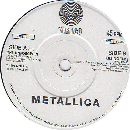 METALLICA - THE UNFORGIVEN / KILLING TIME - 7""