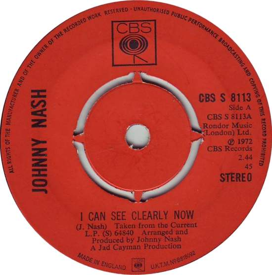 Johnny Nash - I Can See Clearly Now - 7""