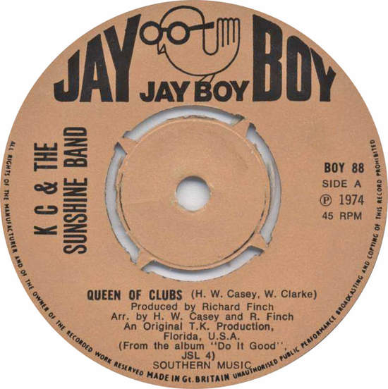 """K C & The Sunshine Band - Queen Of Clubs - 7"""""""
