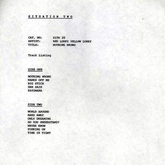 Red Lorry Yellow Lorry - Nothing Wrong - Uk White Label Lp - LP