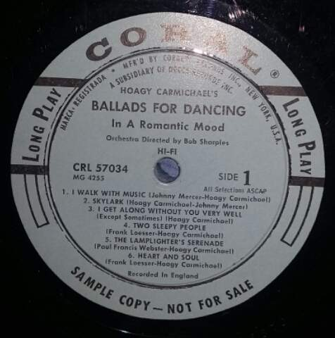 Hoagy Carmichael - Hoagy Carmichael's Ballads For Dancing In A Romantic Mood - LP