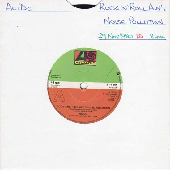 """Ac/dc - Rock And Roll Ain't Noise Pollution - 7"""""""