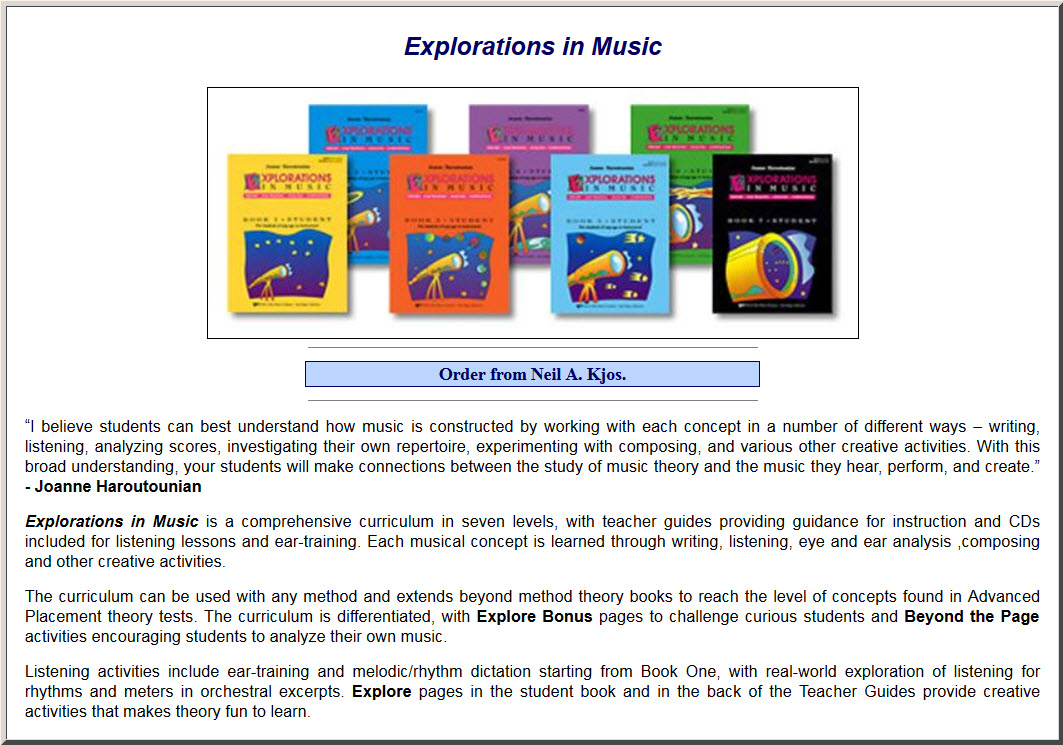 Music Theory Teaching Tools: Explorations In Music
